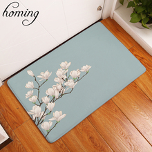 Homing New Arrive Welcome Home Doormat for Entrance Door Brief Beautiful Magnolia Flower Carpets Rectangular Anti Slip Mat Craft(China)