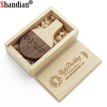 SHANDIAN (over 10 PCS free LOGO) Wooden usb + gift BOX usb flash drive Memory stick pendrive 4GB 8GB 16GB 32GB wedding gifts(China)