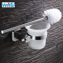 WEYUU Toilet Brush Holders SUS304 Stainless Steel Bath Brush Wall mounted Bathroom Accessories Glass Cup Brushed Nickel(China)