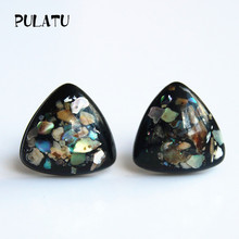 PULATU 2017 New Arrived Small Black Triangle Earrings for Women Resin Natural shell Geometric Minimalist Stud Earring Jewelry(China)