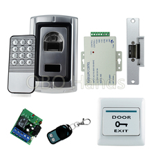 Biometric fingerprint door lock system keychain reader F007+electric strike lock+power supply+exit button+remote control