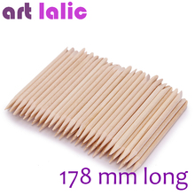 Artlalic 100pcs New 178mm Long Nail Art Design Orange Wood Stick Cuticle Pusher Remover Manicure Care Nail Tools Wholesale(China)