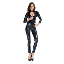 Buy Hot Sexy Lingerie Porno Women Jumpsuit PVC Latex Catsuit Temptation Bodysuit Sexy Open Crotch Fetish Leather Body Sexy Erotic