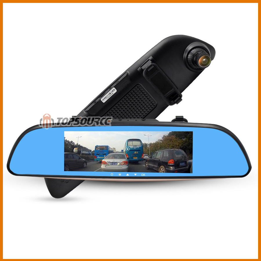 """TOPSOURCE Auto GPS ANDROID 5.0 1G/16G 3G 7"""" IPS Car DVR Mirror Camera Dual Lens 1080P Video Recorder Dash Cam Parking Monitor 15"""