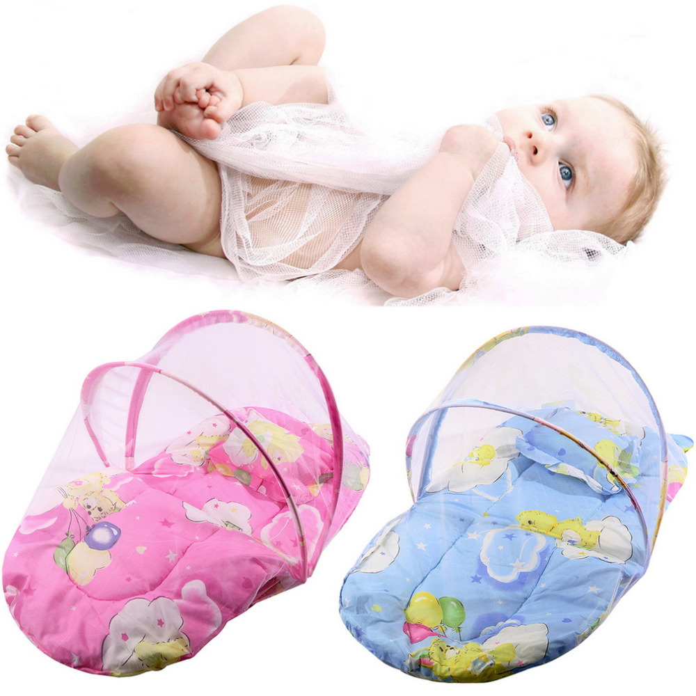 Crib pillows babies - 1pc Baby Crib Netting Bed Crib Folding Mosquito Net Infant Cushion Mattress Pillow Baby Bed Wholesale