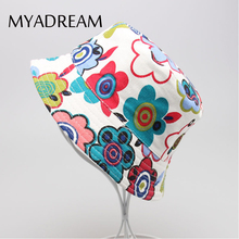 MYADREAM 13 Types Cute Floral Cartoon Printed Girl Boys Bucket Hat Quality Baby Kids Clothing Accessories Flat Top Fishing Hat
