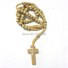 12pcs/lot Natural Wood Wooden Rosary Beads / Rosaries Cross Necklace Crucifix free ePacket ship(China)