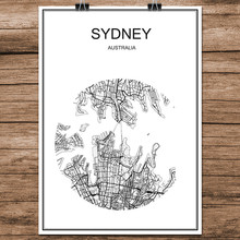Black White World City Map of Sydney Australia Print Poster Coated Paper for Cafe Living Room Home Decoration Wall Art Sticker(China)