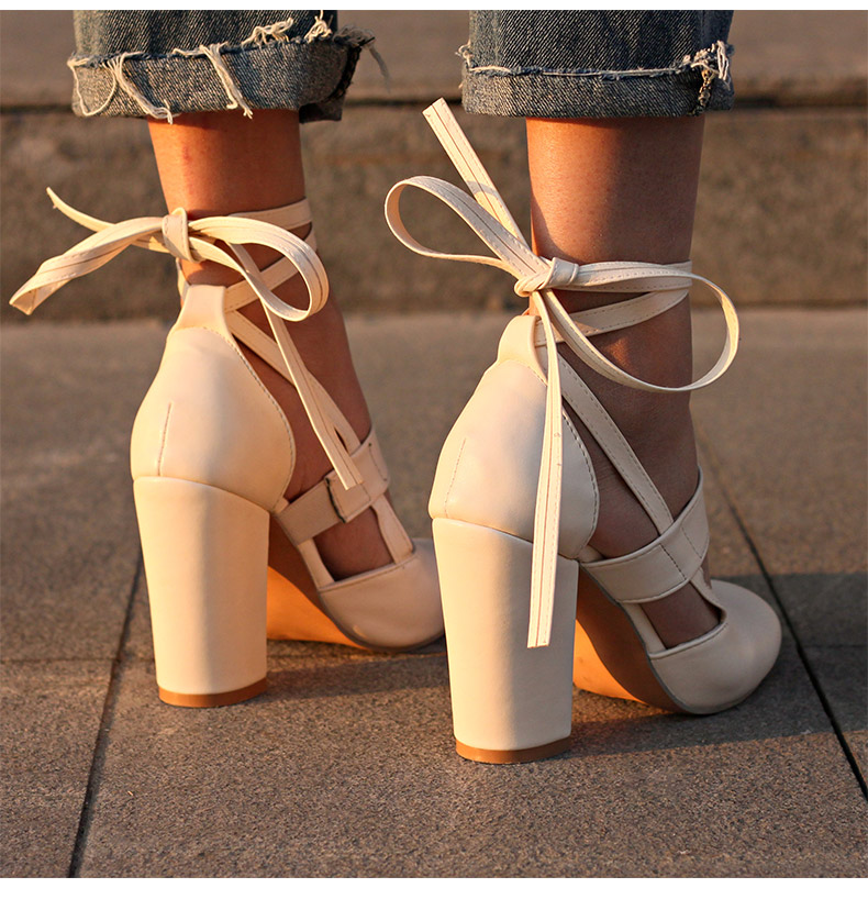 Women Pumps Comfortable Thick Heels Women Shoes Brand High Heels Ankle Strap Women Gladiator Heeled Sandals 8.5CM Wedding Shoes 15