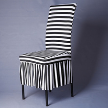 White Black Striped Chair Covers Spandex Zebra Pattern Chair Covers For Weddings Dining Banquet Fashion Chair Cover V20(China)