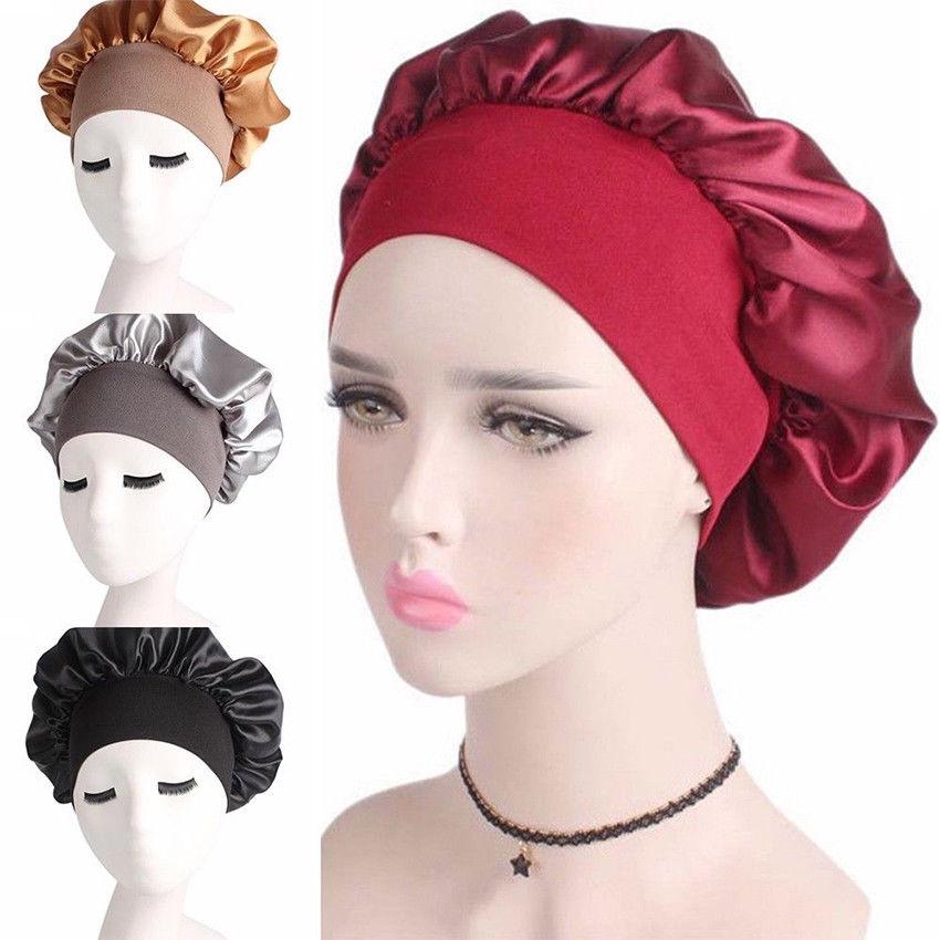 Lady Silk Night Sleep Cap Hat Satin Hair Care Hair Beauty Head Cover Wrap Modern