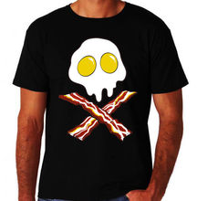 Bacon and Eggs Pirate Jolly Rodger Style New Funny Black Mens Novelty T-Shirt 3D Men Hot Cheap Short Sleeve Male T Shirt(China)