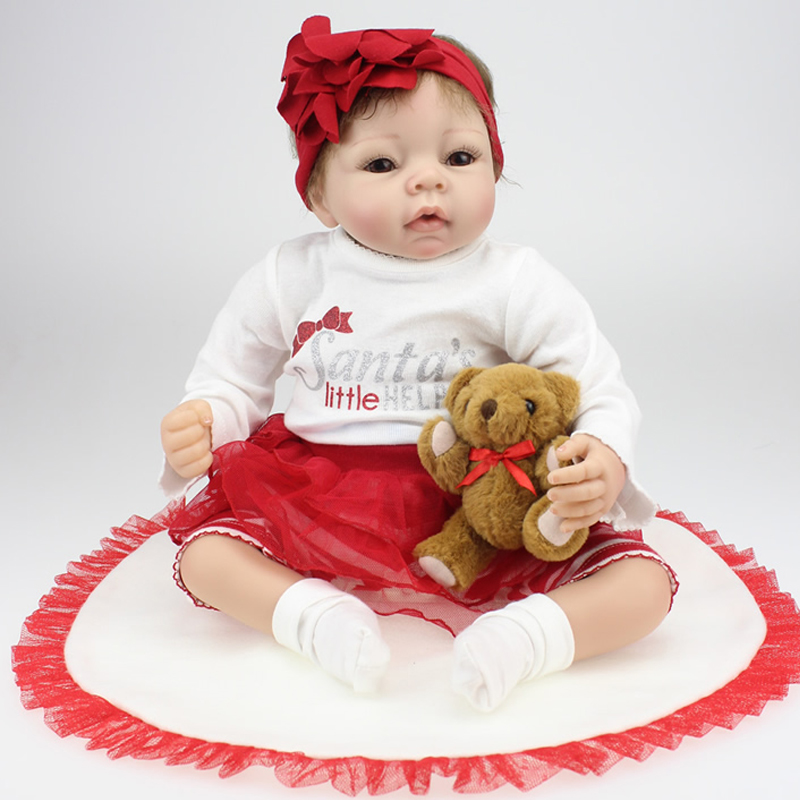 50-55CM Lovely Silicone Reborn Baby Dolls Realistic Hobbies Handmade Soft Body Doll Reborn Baby with Blanket Toy For Child Gift<br><br>Aliexpress