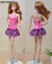 Pink Purple Fashion Doll Clothes Sexy Mini Dress For Barbie Dolls One Piece Fitting Vestido Dresses For 1/6 BJD Doll Dress(China)