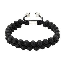 Fashion Shamballa Bracelets Men's Double-Beaded Bracelet with Dull Polish Matte Black Onyx Shamballa Jewelry Wholesale NY-B-616