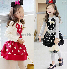 2015 Spring and autumn New Children Girl's 2PC Sets Skirt Suit Minnie Mouse baby sets dots skirt dots pants kids(China)