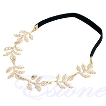 Greek Goddess Peace Angel Golden Olive Leaves Elastic Hair Band Headband Vintage-W128