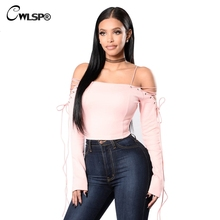CWLSP 2017 Sexy Slash Neck Women T shirt Long Sleeve Cross Lace up tshirt Crop Top Short Tee Tops harajuku merk kleding QA1610