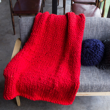 Soft Warm Hand Chunky Knitted Blanket Thick Yarn Bulky Knitting Bed Sofa Spread Throw Wool Blanket 100x130/60x60cm 7color MAYITR(China)