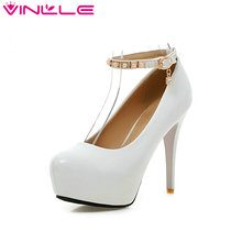 VINLLE 2017 Women Pumps Beading Ankle Strap Sexy High Heel Shoes Thin Heel Round Toe Shoes Pink Women's Wedding Shoes Size 34-43(China)