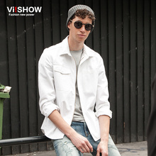 VIISHOW Autumn New COTTON Casual Shirts Men White Shirt Long Sleeve Fashion Slim Fit Brand Clothing Zipper Shirt Men CCZ5763(China)