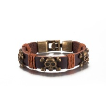 Skull leather bracelet vintage jewelry punk bangles Christmas gifts for men and women low prices good quality H131