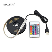 1Pcs USB Charger Supply 5050 RGB LED Strip light 5V 1M 2M 3M 4M 5M USB Cable Decor lamp String For PC LCD TV Background lighting