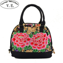 Vintage Embroidery Women Handbag Shell Totes Floral Embroidered Shoulder Bag Handmade Small Hobo Beach Bag Bolsa(China)