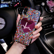 Buy Kerzzil Bling Love Heart Phone Case iPhone X 7 6 6 S 8 Plus Case Coque iPhone 8 Fashion Girly Glitter Cover Case fundas for $2.76 in AliExpress store