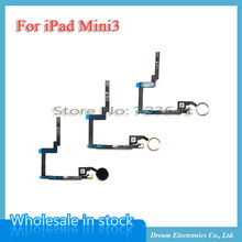 5pcs/lot Black gold white Home Button Key Flex Cable Assembly Replacement for iPad mini 3  free shipping