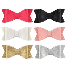 "3"" 6Pcs/lot Cute Girl Boutique leather Hair bows Hairpin Hair Clips Children Kids Fashion Hair Accessories 6 Colors Can Choose(China)"