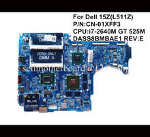 For Dell 15Z(L511Z) Laptop motherboard mainboard CN-01XFF3 1XFF3 i7-2640M GT 525M DASS8BMBAE1 REV:E 100% high quality