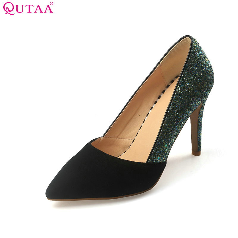 QUTAA 2017 Women Pumps Summer Ladies Shoe Thin High Heel PU Leather Elegant Pointed Toe Woman Wedding Shoes Size 34-43<br>