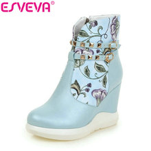 ESVEVA 2016 Printing Leather Autumn Women Shoes Elegant  Ladies Wedges High Heel Ankle Boots Women Fashion Boots Big Size 34-42(China)