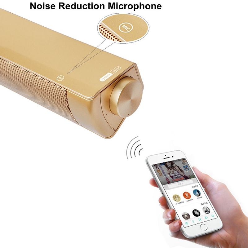 VTIN Wireless Bluetooth Speaker 4.2 SoundBar Remote Control TF Card TV Cellphone Tablet Surround Sound System TV Speaker Golden (6)