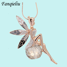 2014 NEW Fashion crystal jewelry inlaid synthetic diamond necklace women , Angel wings sweater chain 18K gold plated FQL621