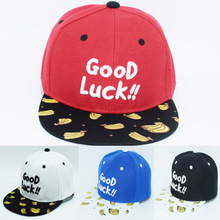 2017 Children Hip Hop Baseball Cap Good Luck Letters Autumn kids Sun Hat Boys Girls snapback Caps age for 2-9 years old child