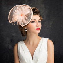 Bridal Wedding Hats And Fascinators Women Vintage Pillbox Hat For Ladies Kentucky Derby Party Cap Sinamay Feather Hairpins(China)