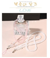 Fashion Crystal Bling Pearl Mobile Neck Key Lanyard ID Badge Holders Creation Phone Chain Bracelet