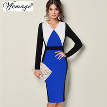 Vfemage Womens Autumn Winter Elegant Contrast Patchwork Long Sleeve Colorblock Slim Work Office Business Party Sheath Dress 8285(China)