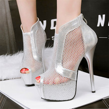 Star Style Sexy Mesh Peep Toe Party Shoes 2017 New Women's Fashion High Platform High Heels Shoes Women Pumps Black Gold Silver