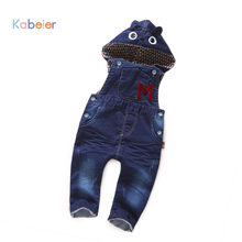 Hooded Kids Bib Pants/Jeans For Infant Clothing Boys Girls Denim Overalls Spring Autumn Trousers Cotton Jumpsuit Baby Clothes