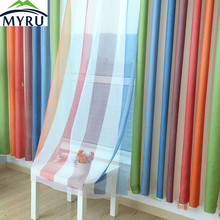 MYRU HOT sale Mediterranean style semi shade  rainbow curtains colorful striped curtains for childrens bedroom free shipping