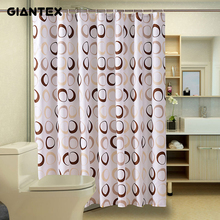 GIANTEX Circle Pattern Polyester Bathroom Waterproof Shower Curtains With Plastic Hooks U1089
