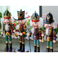 4pieces 30cm colorful wood nutcracker soldier ornament for home decoration hand made miniature wood crafts wedding decoration 64(China)