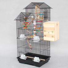 Super Larger Top House Proof Metal Iron Bird Cages Black White Parrot Cage Pet Cages Aviaries For Birds A08(China)