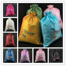 Fashion Embroidered Dance Shoe Storage Bag with lined Satin Cloth Drawstring Crafts Gift Tea Candy Packaging Pouches(China)