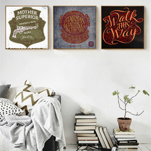 HAOCHU Warm Blood Retro Nostalgic Wall Poster Canvas Painting Flourish Letter Decorative Pictures for Living Room Study(China)