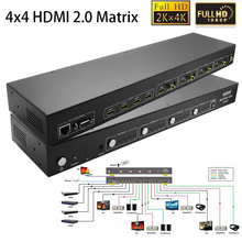 Newly 4x4 HDMI 2.0 Matrix Switch 4 In 4 Out HDMI Splitter 1080P 4kx2k 3D HDTV video audio Switcher With HDCP2.2,ARC,IR,RS232_DHL