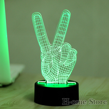 7 Color Victory Finger  3D Visual Led Night Lights for Kids Touch USB Table Lampara  Lampe Baby Sleeping Nightlight